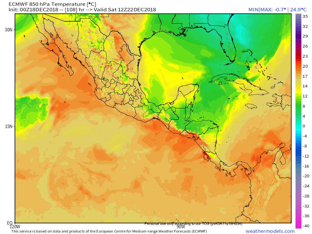 9-km ECMWF Global 00z_12z 3-Hourly Central America 850 hPa Temperature 111