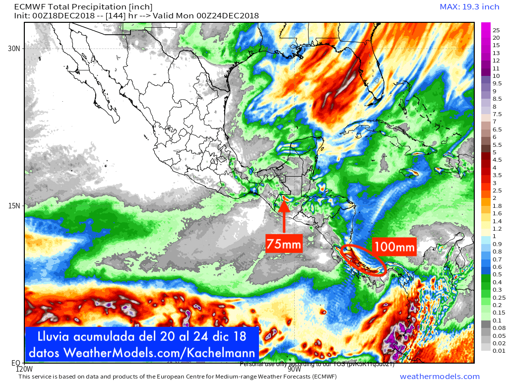 9-km ECMWF Global 00z_12z 3-Hourly Central America Total Precipitation 144